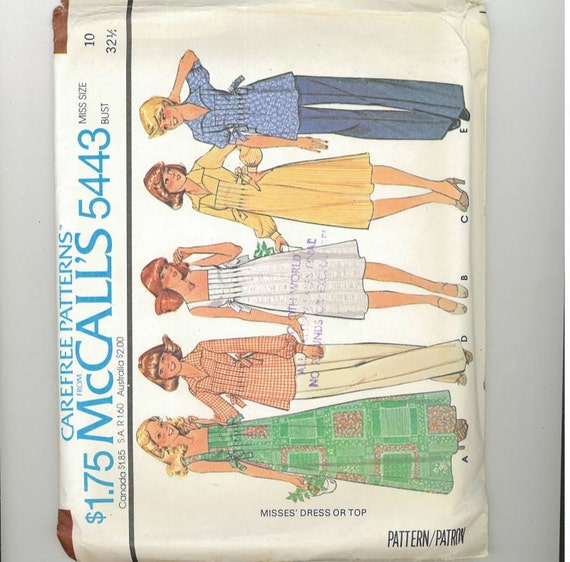 Vintage 1977 Misses Dress Pattern McCalls 5443 Size 10 Bust 32 UNCUT