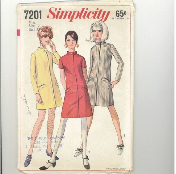 Vintage 1967 Misses Dress Pattern Simplicity 7201 Size 12 Bust 32