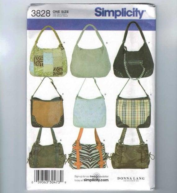 Craft Sewing Pattern Simplicity 3828 Donna Lang Purse Bag Handbag UNCUT 2007