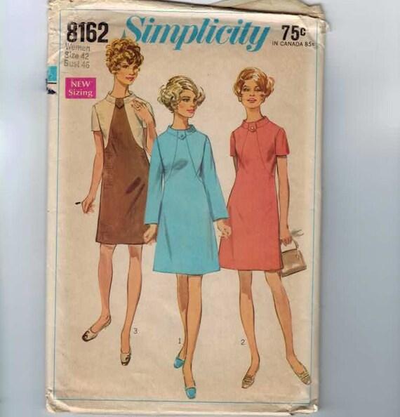 1960s Vintage Sewing Pattern Simplicity 8162 Plus Size A Line Shift Dress Size 42 Bust 46 1969 60s