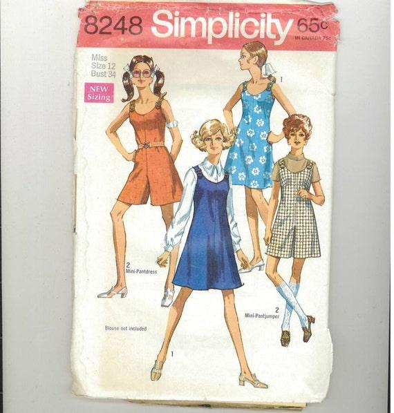 Vintage 1969 Misses Dress Pattern Simplicity 8248 Size 12  Bust 34  99