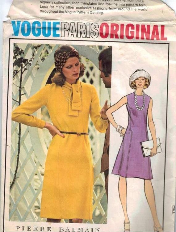1970s Vintage Sewing Pattern Vogue 1019 Paris Original Pierre Balmain Dress Size 12 Bust 34 70s