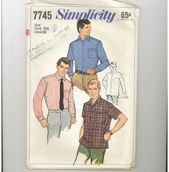 Vintage 1968 Mens Shirt Pattern Simplicity 7745 Chest 40
