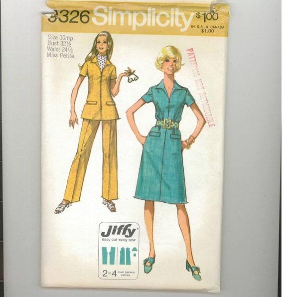 Vintage 1971 Misses Petite Dress Pattern Simplicity 9326 Size 10MP Bust 32 1/2