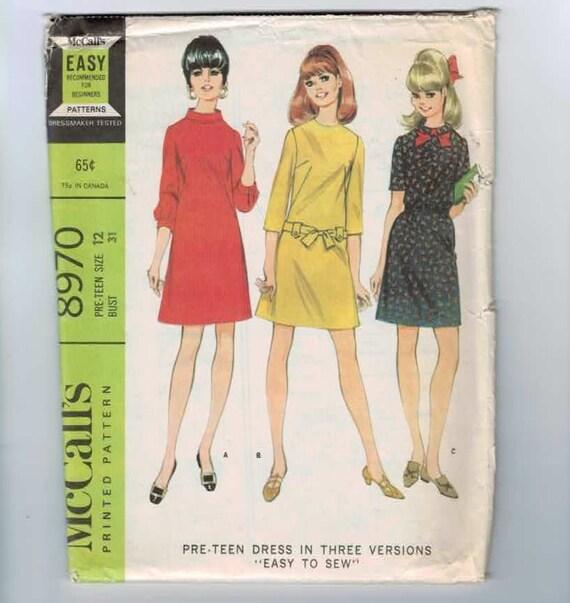 1960s Vintage Sewing Pattern Pattern McCalls 8970 A Line Dress Size 10 Bust 31 1967