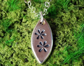 Tiny Daisies Sterling Silver Photo Pendant