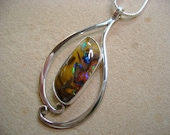 Koroit Opal in Forged Sterling Pendant