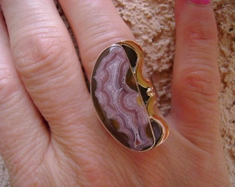 Laguna Agate Cocktail Ring in Sterling with 14K Gold - Size 8