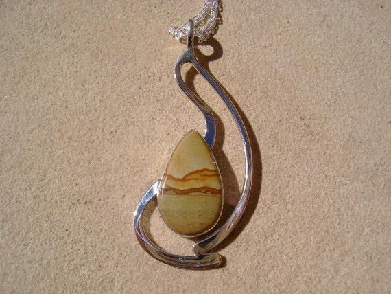 Painted Desert Jasper Pendant in Sterling Silver