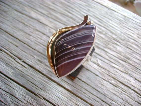 Striking Botswana Agate Cocktail Ring - Size 9