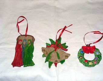 Pre Christmas Sale Set of 3 Ceramic Christmas Ornaments Vintage Look (set 7)