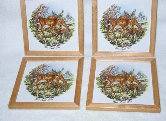 Deer Scene Ceramic Coasters