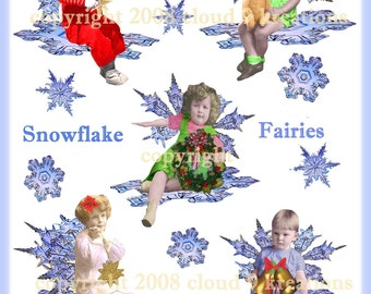 Holiday Snowflake Fairies Altered Art....Digital Collage Sheet