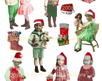 Santa Elves...Altered Vintage Children Digital Collage Sheet
