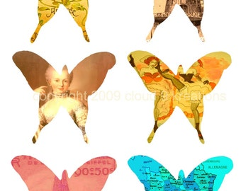 French Dreams...Altered Butterflies...French images...Digital Collage Sheet