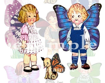 Vintage Dolly Dingle . . .  Altered . . . Butterflies . . . Digital Collage Sheet 1