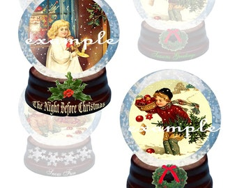 Christmas Snow Globes...1.5x2 And 3x4 Inches...Digital Collage Sheet