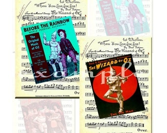1903 Wizard of Oz Images on Wizard Music Sheet...Digital Collage Sheet