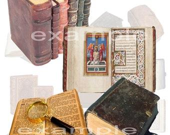 Old Books Digital Collage Sheet - 14 Images