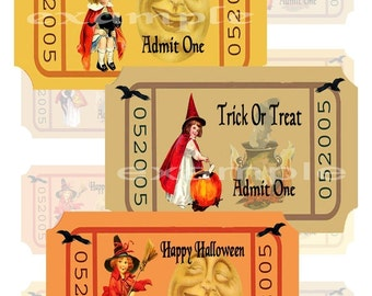 Halloween...Little Witches Tickets...Digital Collage Sheet...Invitations, Altered Art, ATC, Scrapbook, Card  Tag, Crafts