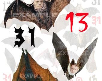 Halloween...13 Bats...Altered Art...Digital Collage Sheet