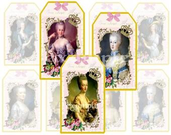 Marie Antoinette Gift/Hang Tags Digital Collage Sheet