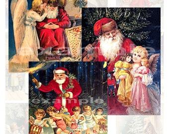 Vintage Santa And Angels Digital Collage Sheet