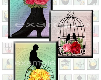 Whimsical Silhouette Inchies...1X1...Digital Collage Sheet - Jewelry, Pendant, Flowers, Silhouettes,
