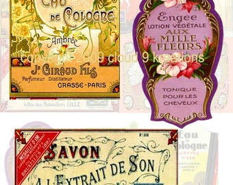 French Perfume & Soap Labels Digital Collage Sheet 1