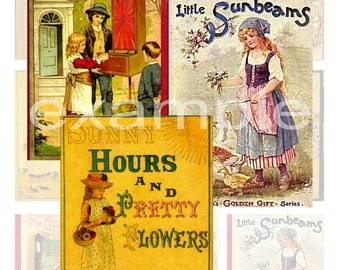 Children's Vintage Book Covers Digital Collage Sheet 1