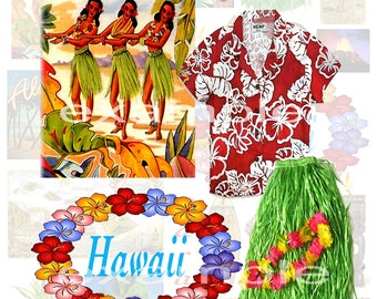 Paradise...Hawaii...Digital Collage Sheet - Vacation, Hula Girls, Pineapple, Vintage Postcards, Lei