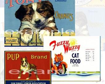 Dog And Cat . . . Labels  . . . Digital Collage Sheet 2 - 8 Images