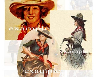 Vintage Cowgirls Digital Collage Sheet 5 -