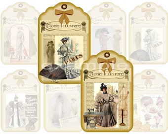Mode Illustree French Fashion Gift/Hang Tags Digital Collage Sheet - 8 Images