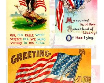 Vintage U S Flags...4th of July Digital Collage Sheet 3 - 7 Images