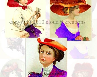 Red Hat Ladies Digital Collage Sheet - 9 IMAGES