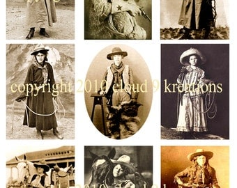 Vintage Cowgirl Digital Collage Sheet 8...Western