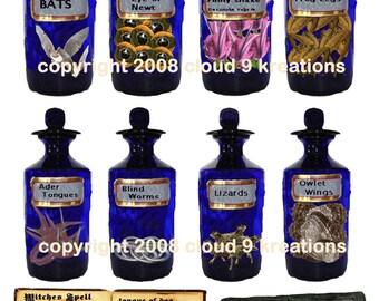 Witch's Spell . . . Altered Antique Medicine Jars . . .  Unique Halloween Digital Collage Sheet