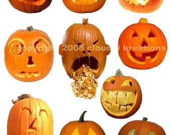 Halloween Jack-O-Lantern Digital Collage Sheet