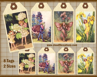 Flower Fairies Gift/Hang  Tags Digital Collage Sheet