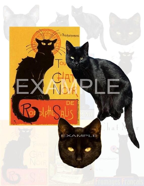Black Cats - Chat Noir- Digital Collage Sheet - Scrapbook, Card, ATC, ACEO, Animal, Feline