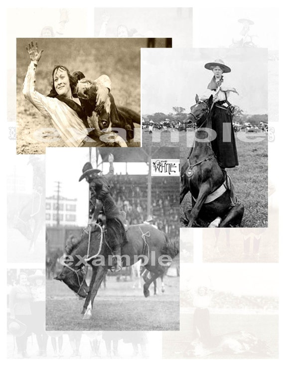 Vintage Rodeo Cowgirls Digital Collage Sheet - 9 Images