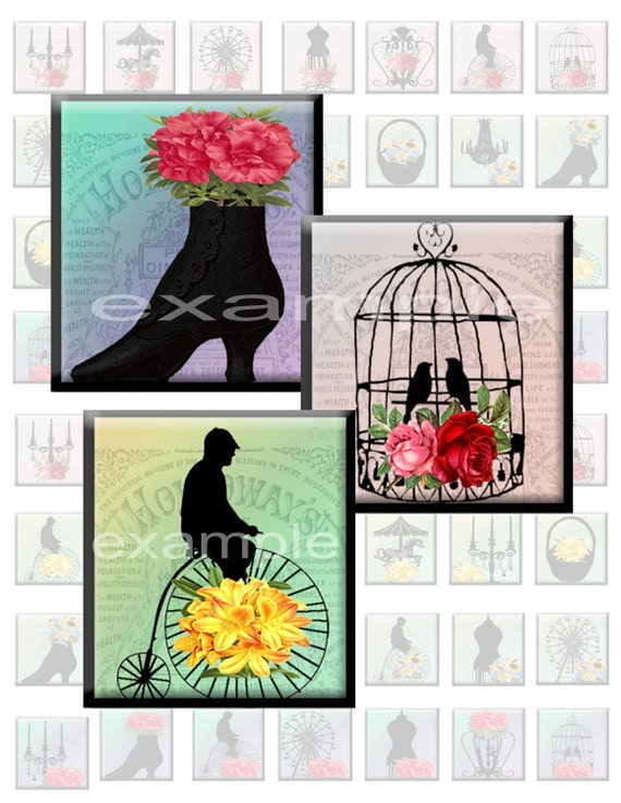 Whimsical Silhouette Inchies...1X1...Digital Collage Sheet