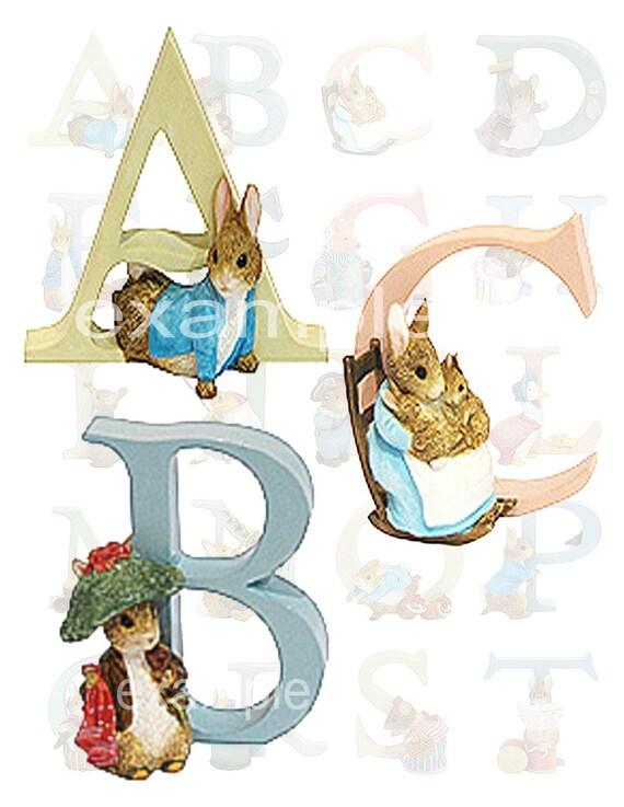 Beatrix Potter Alphabet  (2) Digital Collage Sheets