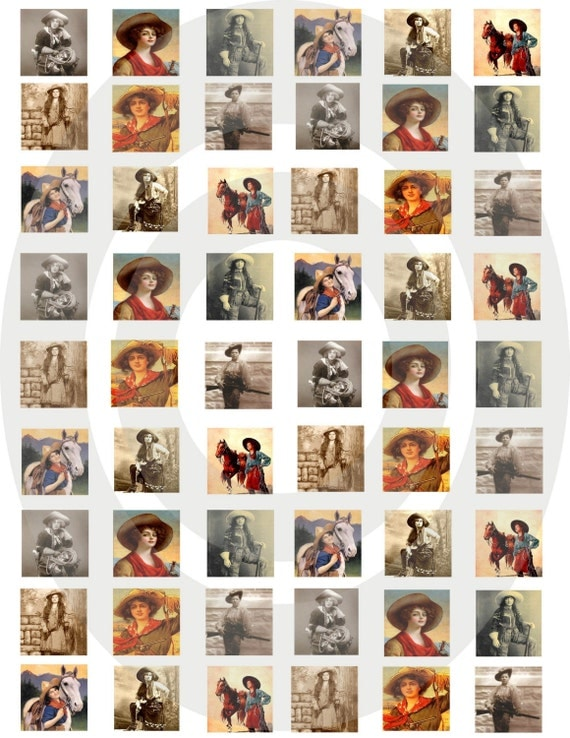 VINTAGE COWGIRL INCHIES DIGITAL COLLAGE SHEET 2