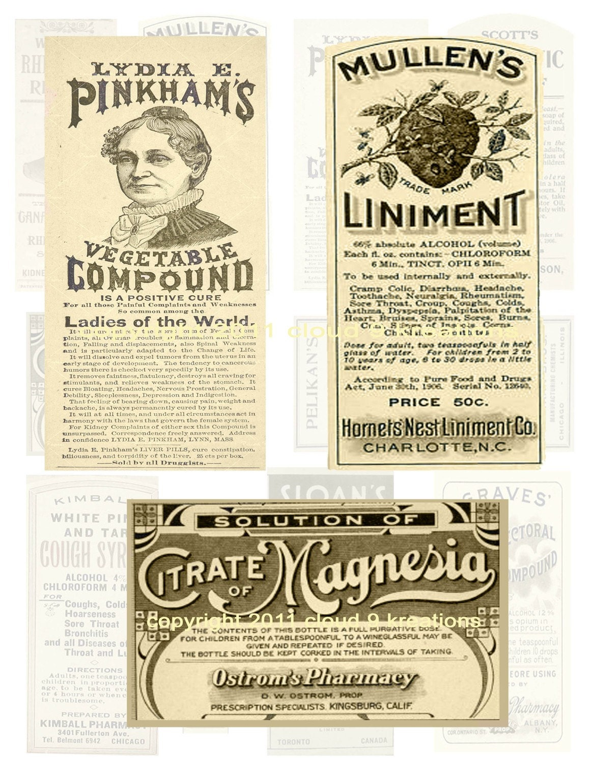 antique medicine labels digital collage sheet 2