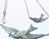 Girls Telephone Boys Sterling Silver 925 Sparrow Bird Necklace Pendant Jewelry Jewellery