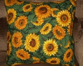 Sunflowers cotton pillow cover throw toss 16 inch