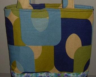 lime blue navy geometric tote