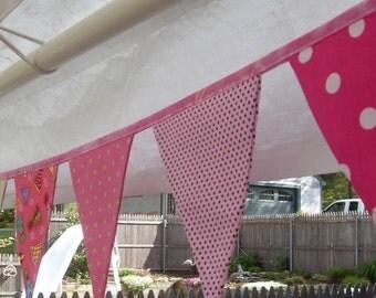 Ready to Ship Birthday pink polka dot fabric flag banner teacher classroom